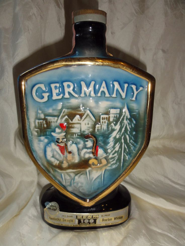 Jim Beam Decanter Germany Map On Back Of West Germany
