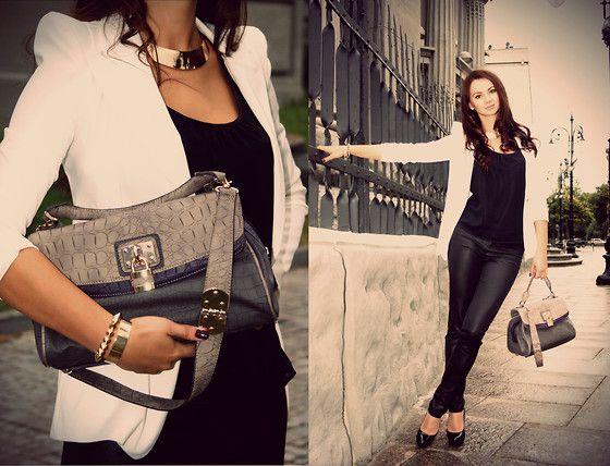 Anna Mour ♥ - Anna Kastle White Blazer, Marks&Spencer Handbag, Killah Black Pants, Aldo Pumps - Simplicity