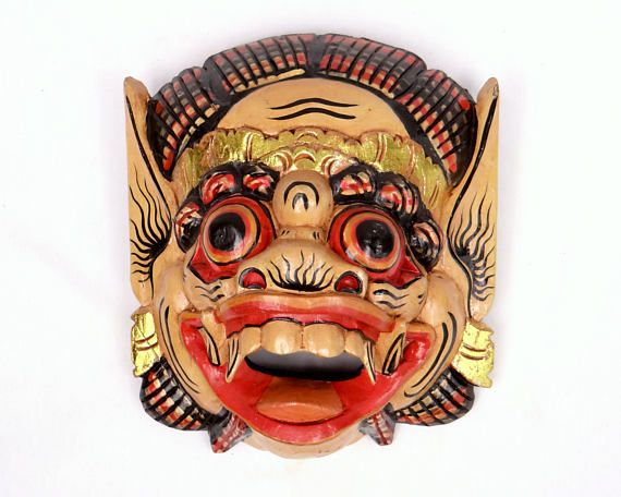 Large Balinese Barong Mask - Vintage Polychrome Handpainted Carved Wooden Mask - Indonesian Home Guard, Interior Decor, Wall Art at VintageArtAndCraft