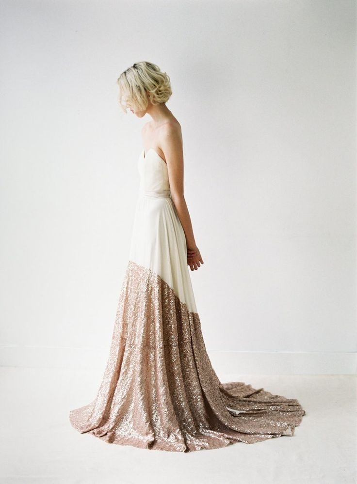 Ombré Rose Gold Sequined Dress from Etsy
