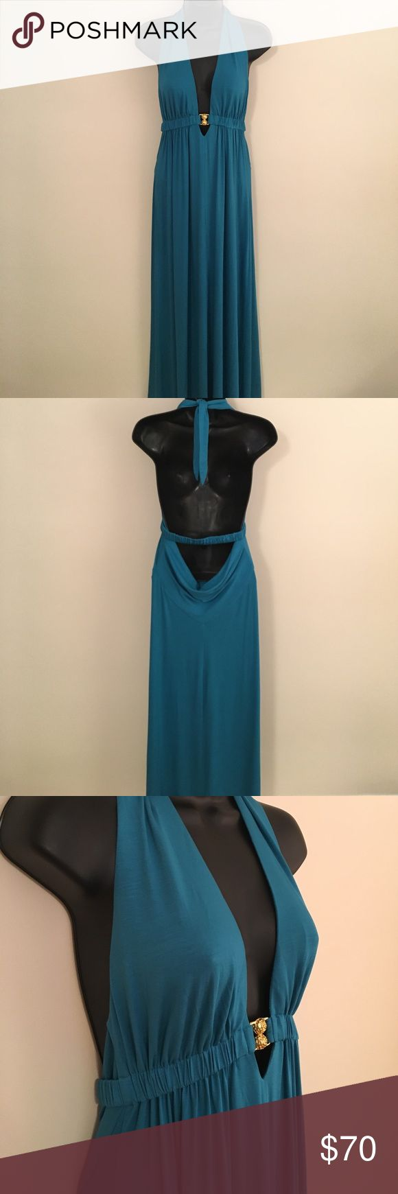 Trina Turk Plunge-Neck Halter Maxi Dress NWT Stunning Trina Turk Teal Maxi Dress with Plunge Halter Neck. 90% Viscose, 10% Elastane. I bought this dress for a wedding and never had the chance to wear it. New with Tags! Price is Negotiable! Trina Turk Dresses Maxi