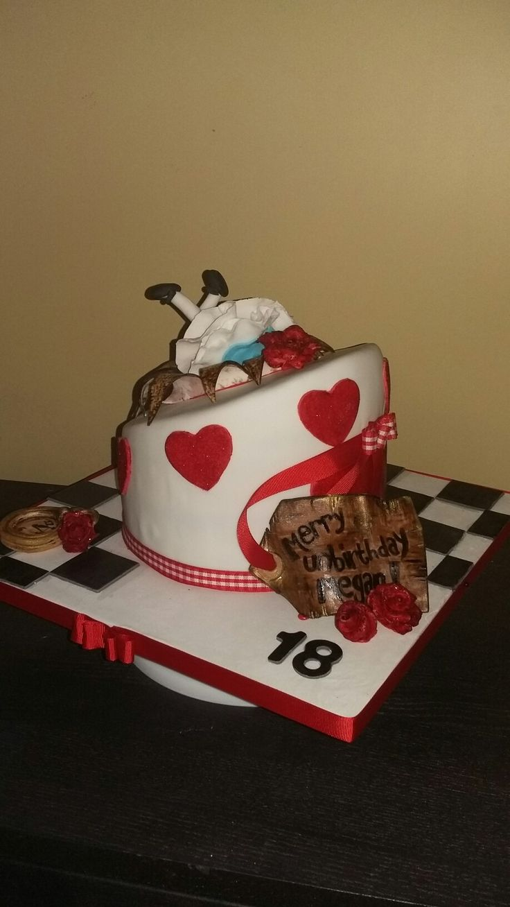 Alice in wonderland tall stack, edible decorations, happy unbirthday, red velvet by Danielle Smith (Rockylicious Cakes)