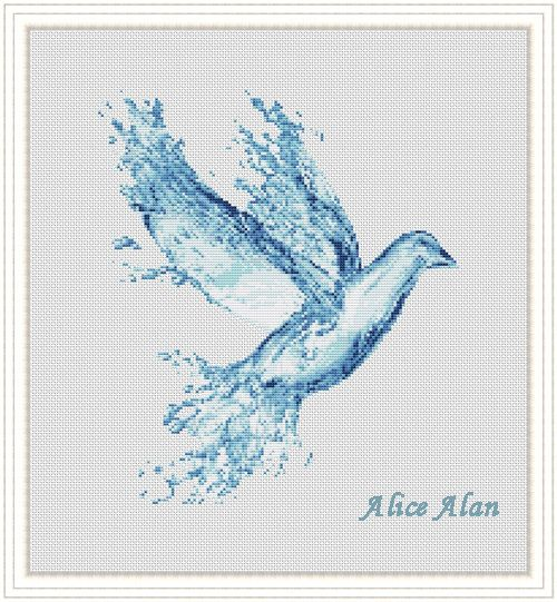 Blue Bird out of the water monochrome design Counted от HallStitch