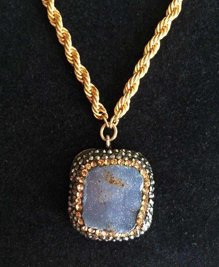 Amethyst Druzy with Hematite set in Sterling Silver