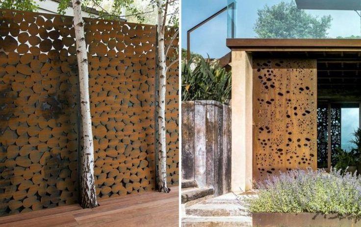 panneaux en acier corten en tant que brise-vue jardin  et déco extérieure