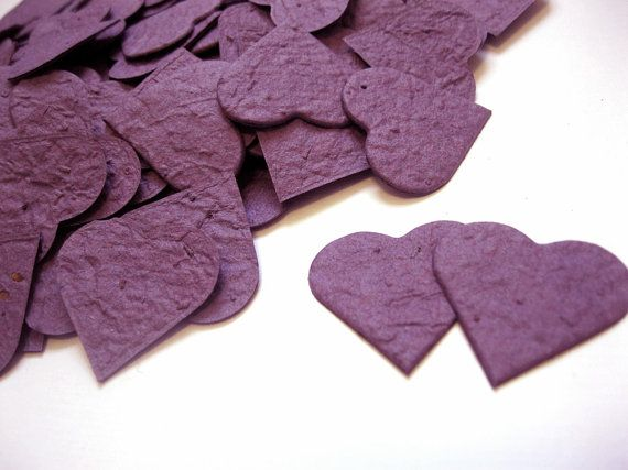 NEW COLOR  200 Plum Plantable Seed Paper Hearts by KaBloomz, $24.00 Possible wedding favors/decorations