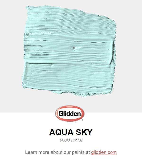 For a lively transitional space, use this minty teal.  Use white trim and light wood accents for a crisp and clean environment. View this Glidden paint color, and picture it in your home at https://www.glidden.com/colors/blue-teal/aqua-sky
