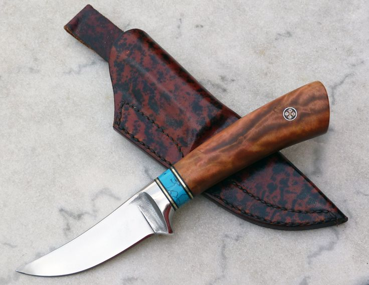 Hunting knife (skinner) with a cast dendritic blade by David Boye. Birch, turquoise and nickel silver handle. Great performance. #knife