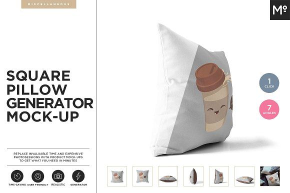 Square Pillow Generator Mock-up by Mocca2Go/mesmeriseme on @creativemarket