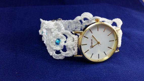 Wedding bracelet for bride White crochet by HarmonyHourWatches