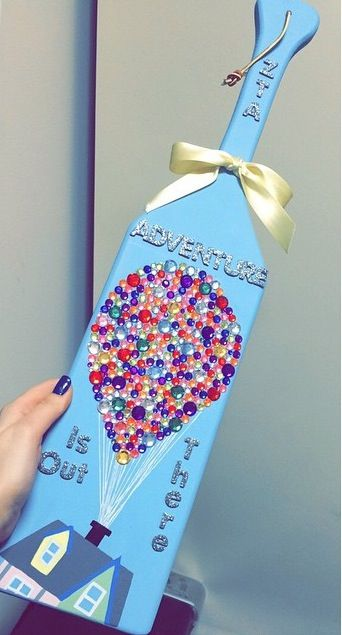 "Up themed paddle. ZTA. Zeta Tau Alpha Fraternity. ""Adventure is out there."""