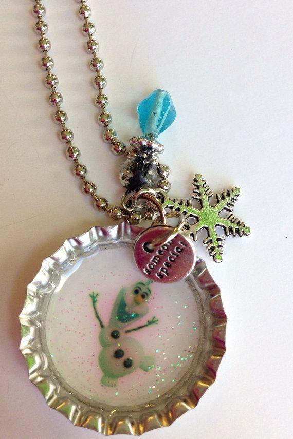 Frozen Bottle Cap Necklace 26 in new by BandsBeadsandBling on Etsy, $7.50