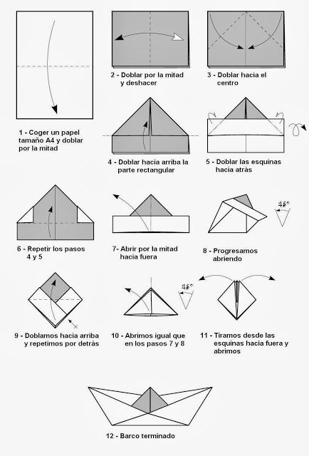 Barquito de papel - papiroflexia                                                                                                                                                                                 Más