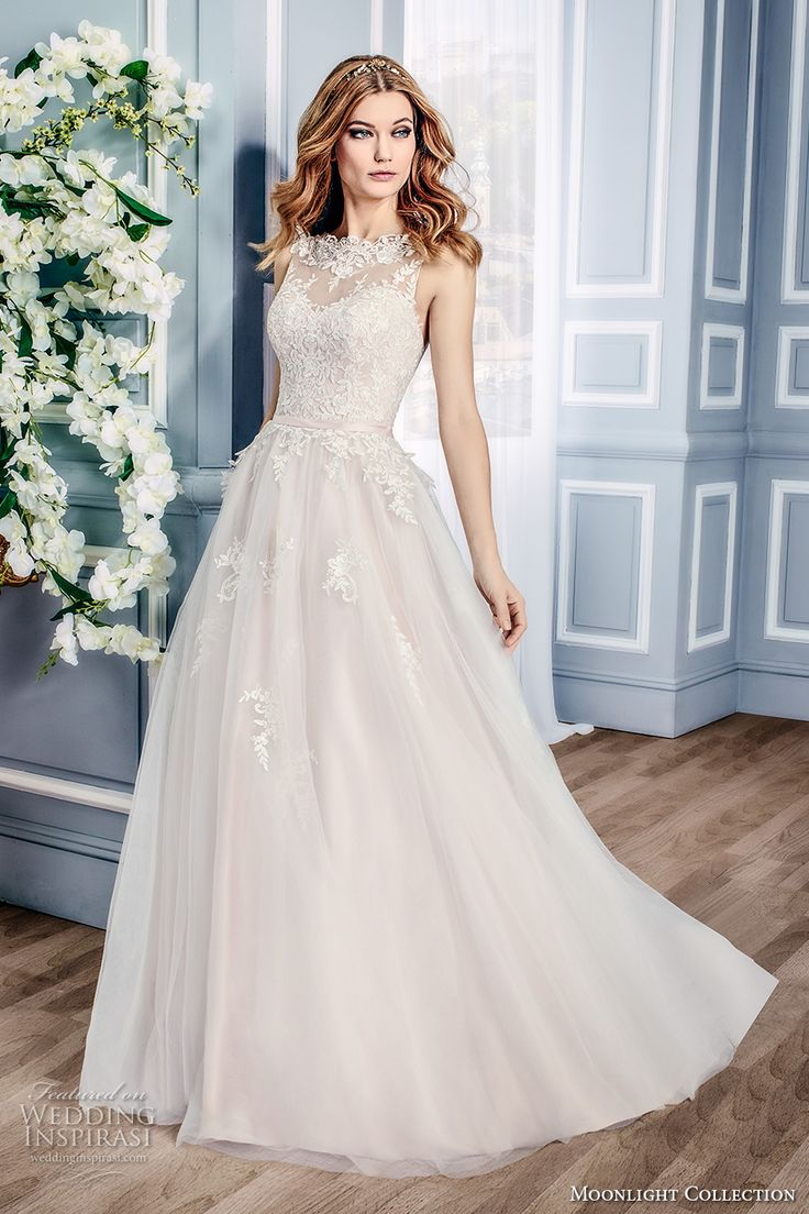 moonlight collection fall 2016 bridal sleeveless lace illusion boat sweetheart neckline heavily embellished bodice tulle a  line wedding dress v back sweep train (j6431) mv