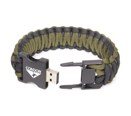 Condor USB Paracord Bracelet Black/OD - 2GB - Hock Gift Shop | Army Online Store in Singapore