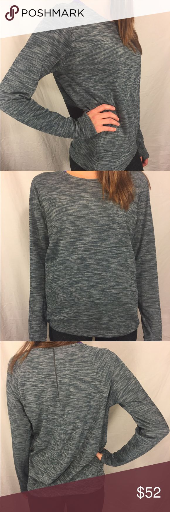 Lulu lemon Long Sleeve Shirt w/ Pockets, loose fit Lulu lemon long sleeve shirt. Size 8. Color is grey-green. Loose fit perfect for layering. I would throw this on over a tank. Self: 48% nylon, 44% polyester, 8% Lycra elastane. Lining: 86% polyester, 14% elastane. Hidden thumb holes to keep your hands warm and sleeves in place. Two hidden zippers in the front make one big pocket, which has a small media pocket perfect for headphones or credit cards. LIGHTLY USED, LIKE NEW! lululemon…