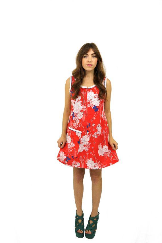 Super playful original vintage 1960's multi-coloured shift dress. etsy