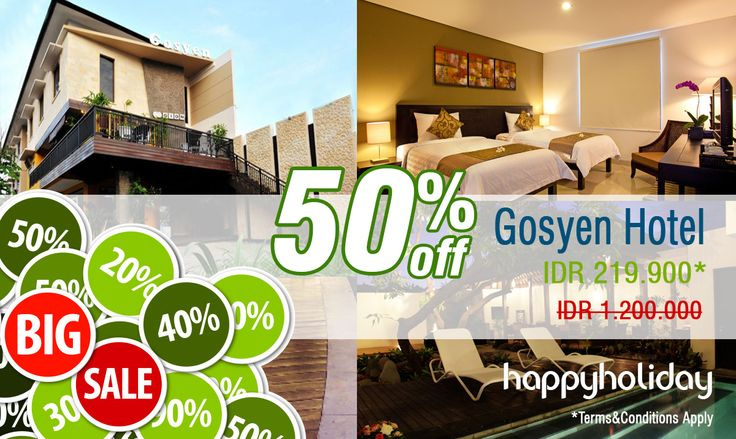 """Bali promo times !!! Get a special prices + 50 off disc if u make a reservation for """" Gosyen Hotel """" in Bali. Click here >> http://www.happyholiday.travel/hotel/legian/gosyen-hotel-428"""