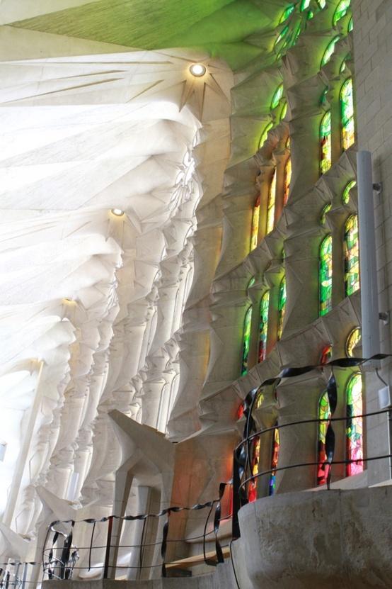 Heavenly reflections inside Sagrada Familia.