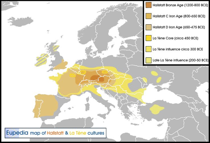 Celtic Europe: Expansions of the Hallstatt and La Tène cultures during the Bronze Age and the Iron Age