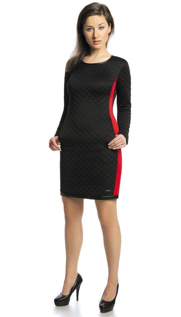 Rochie office eleganta, negru-rosu, cu garnitura din piele sintetica. Este decoltata rotund, are maneca lunga si este cambrata pe corp. In laterale are inserate doua benzi de culoare rosie. Perfecta de purtat la locul de munca.