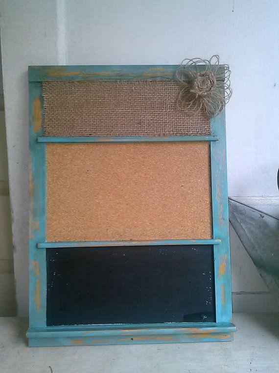 Burlap bulletin board, Upcycled message board, Vintage, Distressed bulletin board, Farmhouse organizer on Etsy, $24.00