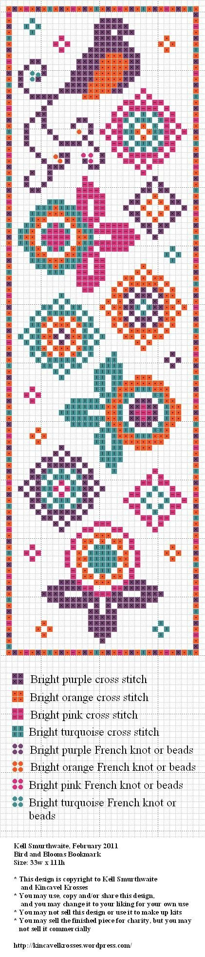 Birds and blossoms bookmark. Free sewing pattern graph for cross stitch.