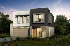 Casa de dos pisos cuadrada