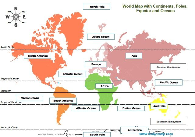 Grade 4 Geography Map Of The World World Map Continents World Map Geography Map World geography maps worksheets