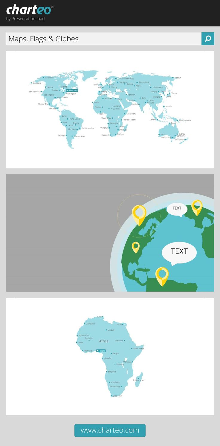 Take your audience on a trip around the world with our map and globe templates.