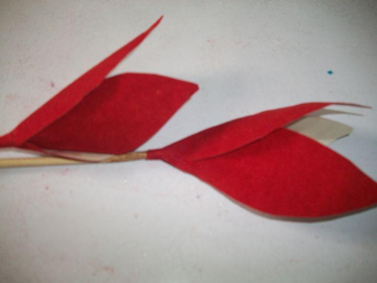 Handmade three petalled velvet flower made for bouquet