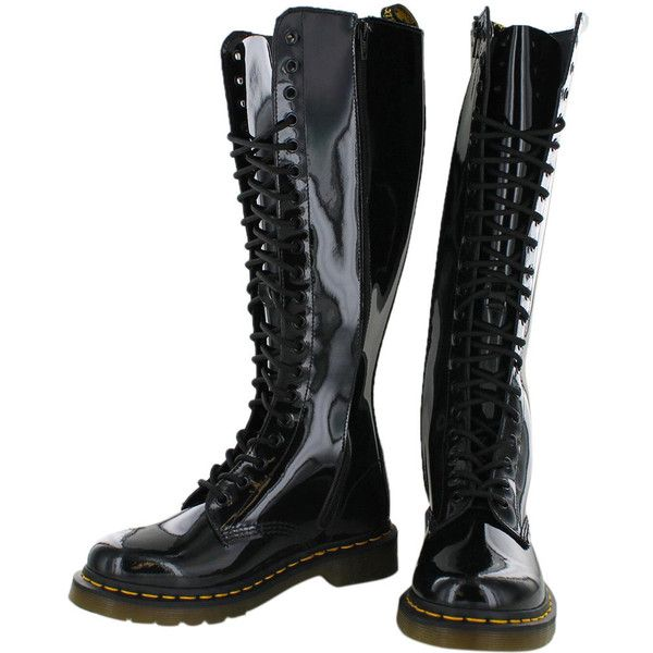 Dr. Martens Women's 1B60 20 Eye Combat Boots Patent Leather ($90) ❤ liked on Polyvore featuring shoes, boots, dr martens shoes, combat boots, dr martens boots, dr martens footwear and patent leather military boots