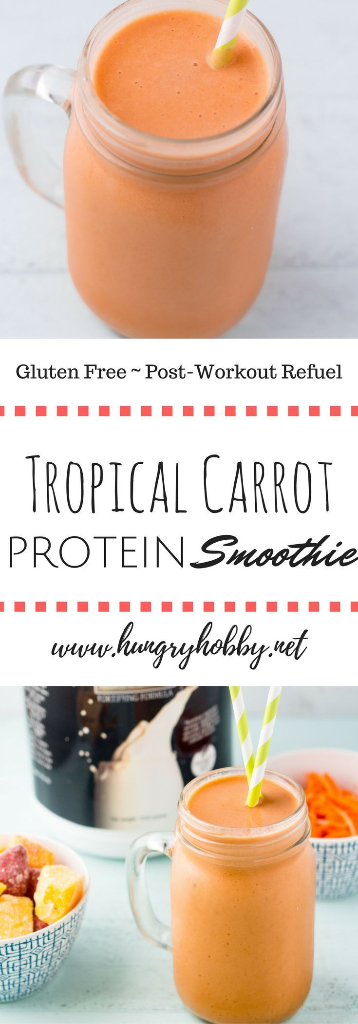 Creamy Tropical Carrot Protein Smoothie is a refreshing breakfast or post workout snack to cool you down with a burst of creamy tropical flavor so good you'll think you are on vacation in the tropics! #millenniumblend #ad via @hungryhobby