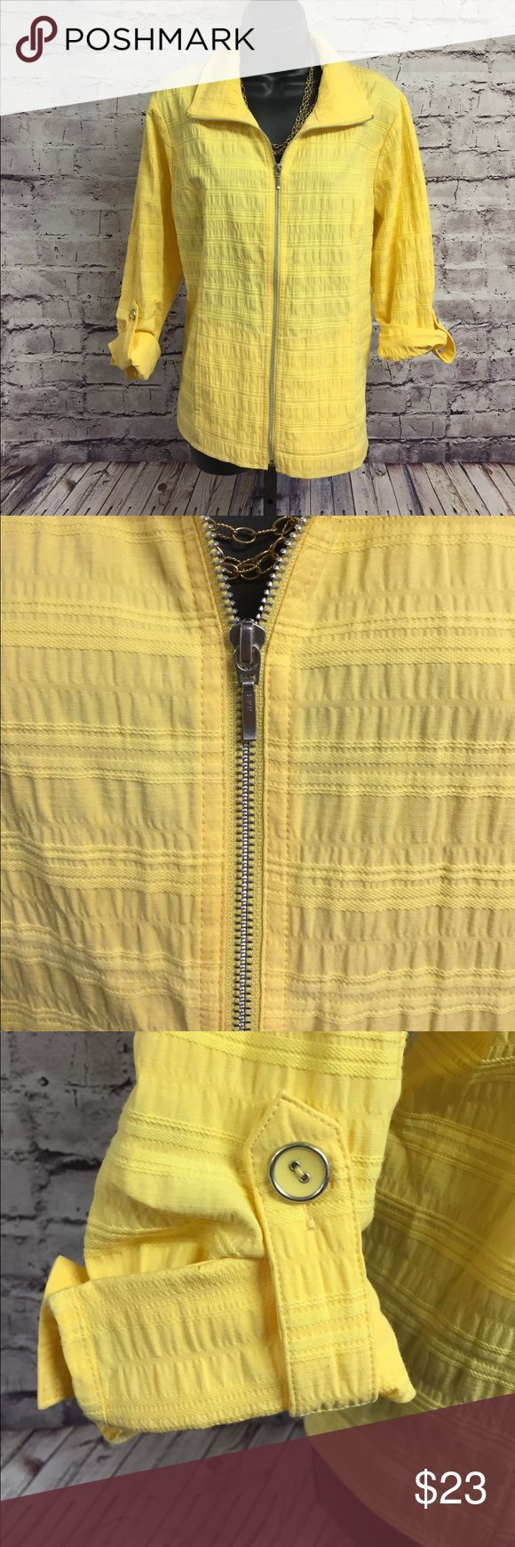 Christopher and banks petite zip up jacket XL Bright and sunshiny yellow Christopher and banks petite women's jacket. Size petite extra-large. 52% cotton 47% polyester 1% spandex. Machine wash cold. sleeve length fully extended 16 inches.  Armpit to hem 15 inches Lightweight and great for summer. Fast shipping and bundle discounts available. Christopher & Banks Jackets & Coats