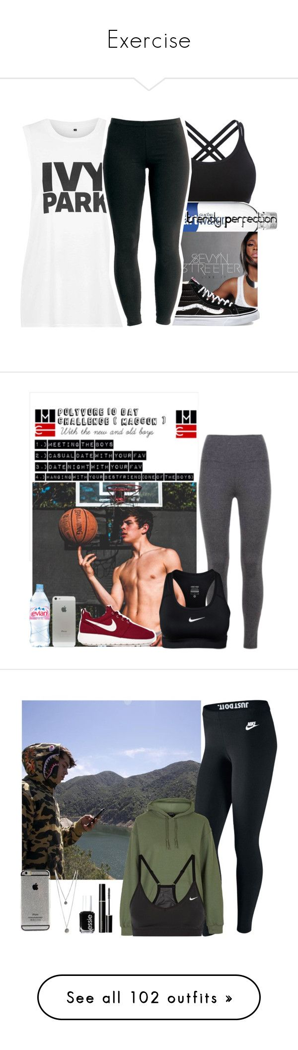"""""""Exercise"""" by nala-paradise-islands ❤ liked on Polyvore featuring Topshop, Vans, Joe Browns, NIKE, Evian, SUQQU, Essie, beauty, adidas and Kate Spade"""