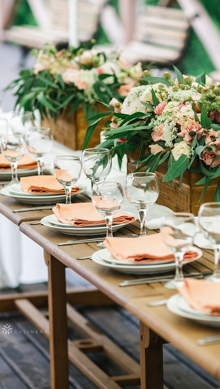 Modern spring peach and white wedding table setting | spring ...