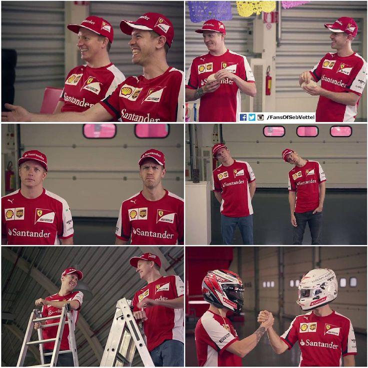 """Shots from Sebastian Vettel and Kimi Raikkonen being prepared for the #MexicoGP…"
