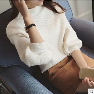 【新品・送料無料】ボトルネックニット セーター パフスリーブ ホワイト(ニット/セーター)