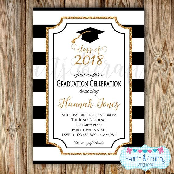 Congrats, Graduate! This listing is for a customized Graduation invitation file that you print yourself. Perfect for high school and college graduations! Available with chevron background (1st pic) or stripe background (2nd pic). Colors are black & white with gold glitter accents.