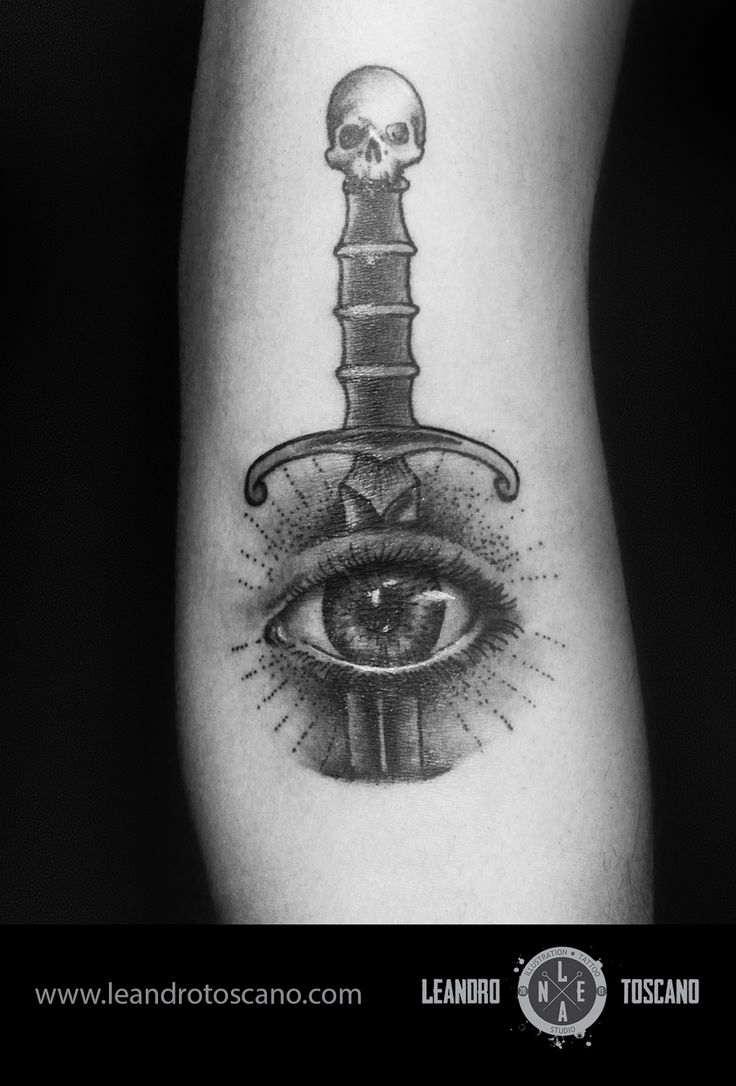 Dagger eye tattoo blackwork