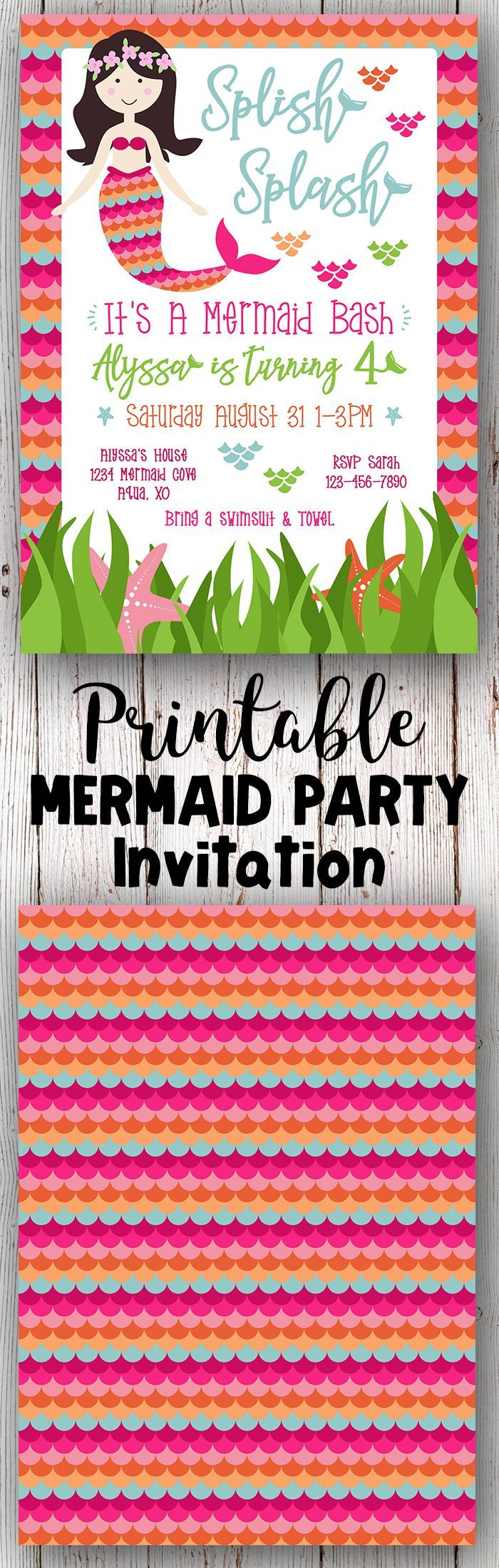 The 25+ best Mermaid party invitations ideas on Pinterest | First ...