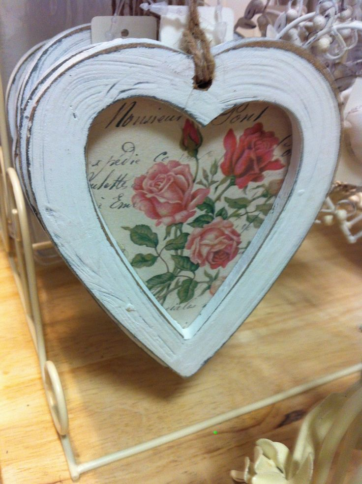 Chic Floral Wooden Heart