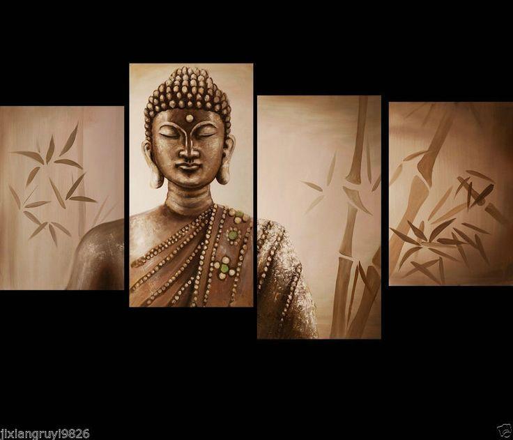 4 Piezas Dibujar mano Arte Óleo Pintura Buda Zen. Decoración de pared de tela (Sin marco)