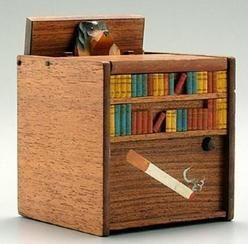 Music Box; Cigarette Dispenser, Library & Dog, Wood, 5 inch.