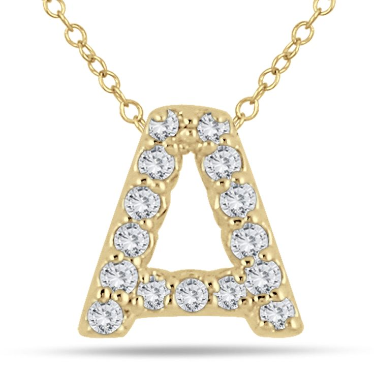 1/10 Carat A Initial Diamond Pendant in 10K Yellow Gold A stunning diamond initial pendant set with genuine white diamonds in solid 10K yellow gold. This personalized A diamond pendant is perfect for everyday wear. The pendant features 15 fiery white diamonds weighing a total of .12 carats. The stones are graded with an I-J color and an I1-I2 clarity. http://ponderosa.co/szul/110-carat-a-initial-diamond-pendant-in-10k-yellow-gold/