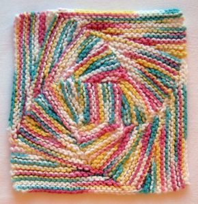 Vortex (Six) Dishcloth A Meditative Pattern Knit from the center out on double point needles, 6 tilting nested increasingly larger squares give a…