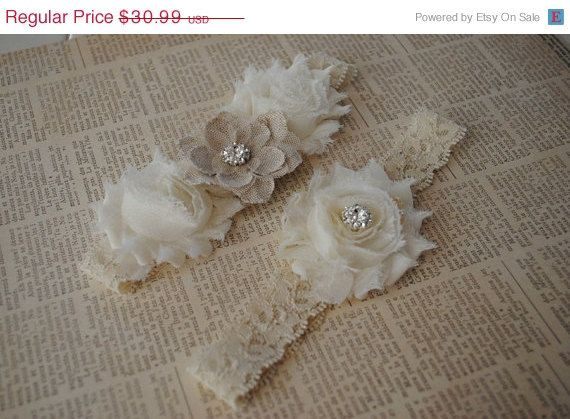 SALE Burlap Wedding Garter Cream Lace Garter by lacetossbridal, $26.34