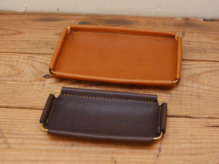 Brass and leather tray