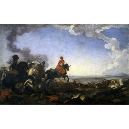 Cavalry Battle Between Turks And Christians Canvas Art - (36 x 24)