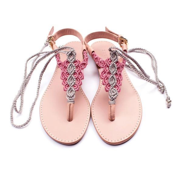 Silver Grey and Pink Macrame and Pink Leather Sandal / Summer sandal / thong sandals / flat sandals / barefoot / macramé sandals